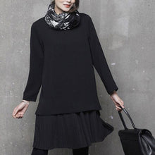 Load image into Gallery viewer, Simple o neck Cotton false two pieces tunics for women design black Dress