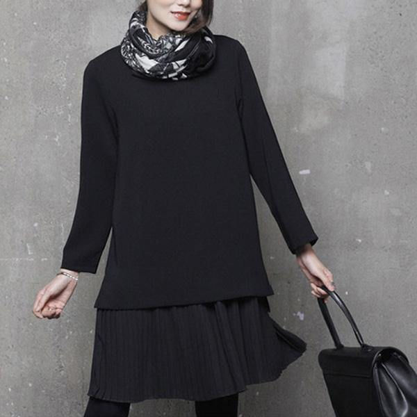 Simple o neck Cotton false two pieces tunics for women design black Dress