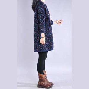 Simple o neck Cotton winter quilting dresses design navy floral Dresses