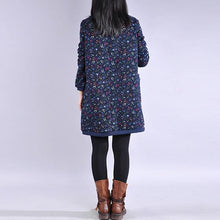 Load image into Gallery viewer, Simple o neck Cotton winter quilting dresses design navy floral Dresses