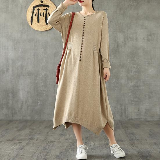 Simple o neck asymmetric cotton clothes For Women Tunic Tops khaki Maxi Dress
