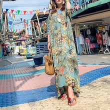Load image into Gallery viewer, Simple o neck asymmetric summerclothes For Women Outfits green print Maxi Dresses