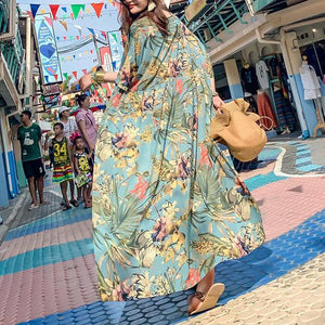Simple o neck asymmetric summerclothes For Women Outfits green print Maxi Dresses
