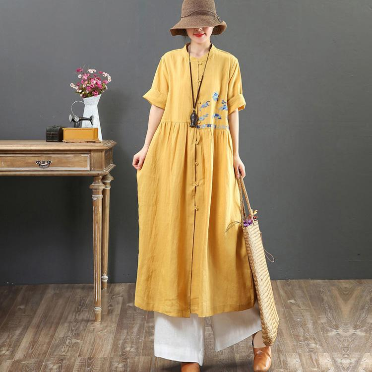 Simple o neck embroidery linen clothes Fitted Tunic yellow Traveling Summer Dress