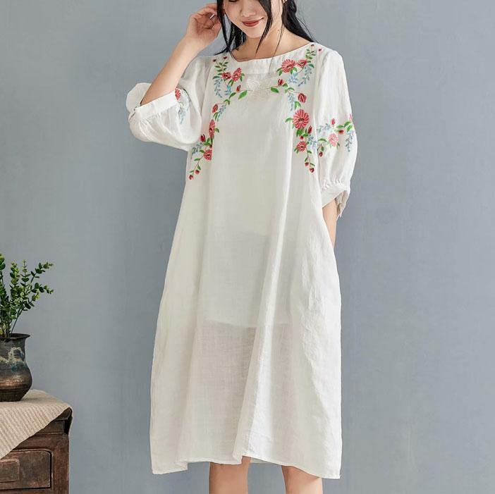 Simple o neck half sleeve linen clothes For Work Outfits white embroidery Dresses summer