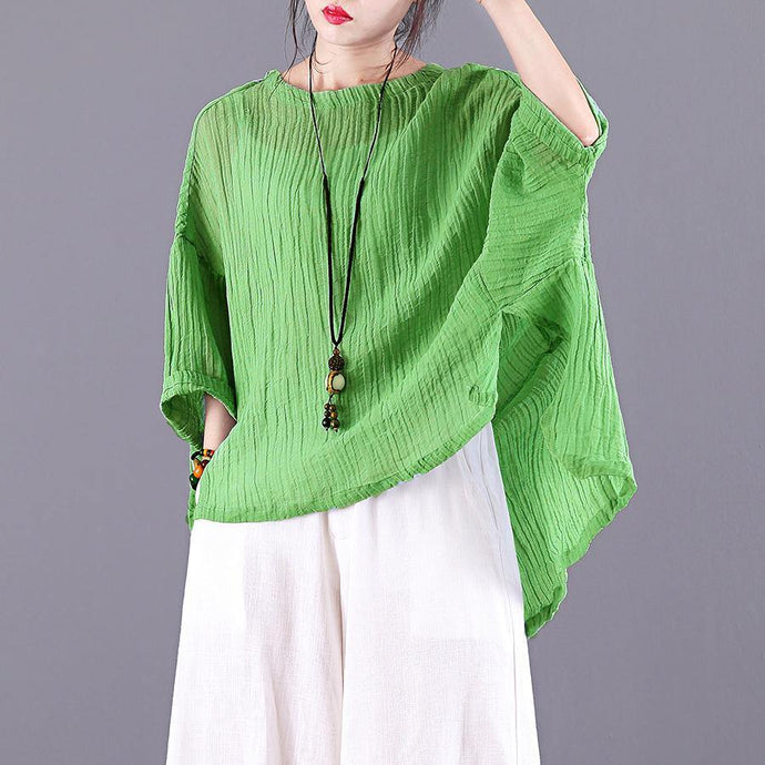 Simple o neck low high design linen clothes For Women Sleeve green blouse summer