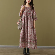 Load image into Gallery viewer, Simple o neck patchwork linen clothes red print summer two pieces Dress