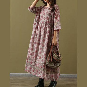 Simple o neck patchwork linen clothes red print summer two pieces Dress