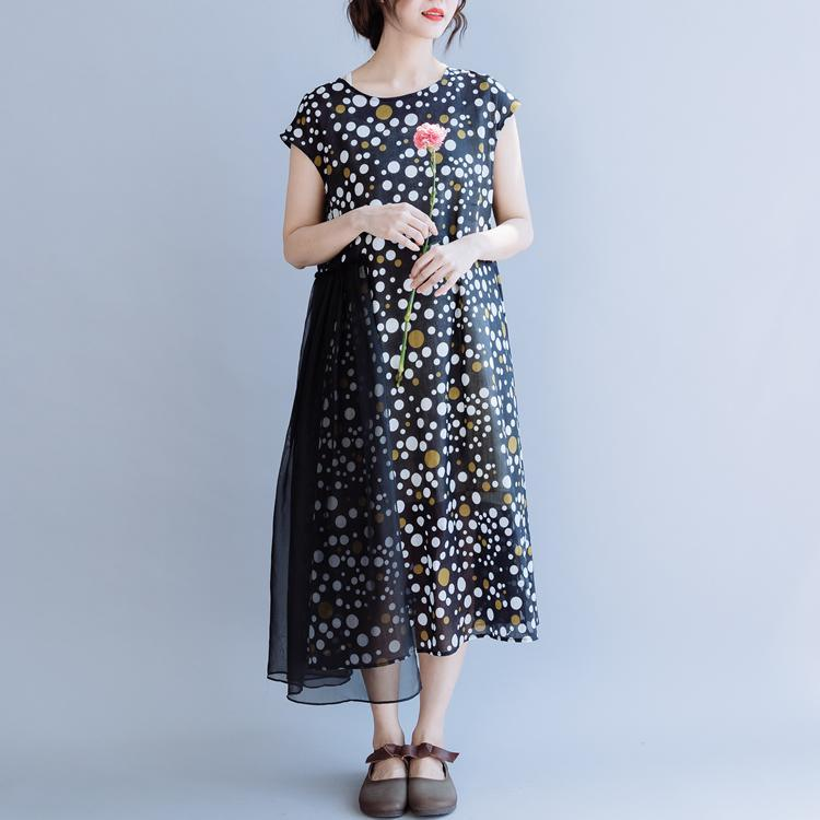 Simple o neck patchwork linen dress Fabrics black dotted Dresses summer