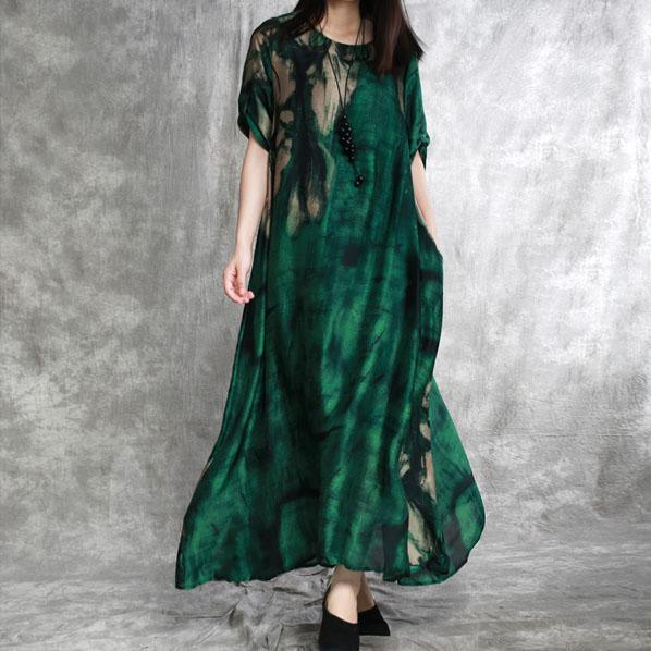 Simple o neck pockets Robes Fine Shirts green print Love Dresses Summer