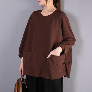 Simple o neck wrinkled cotton clothes Work Outfits chocolate shirts