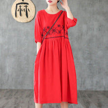 Load image into Gallery viewer, Simple o neck wrinkled linen dresses pattern red embroidery Dress