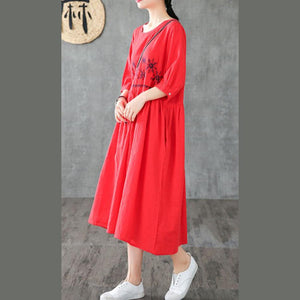 Simple o neck wrinkled linen dresses pattern red embroidery Dress