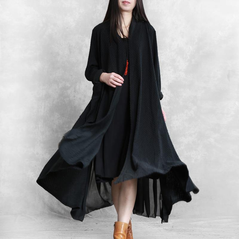 Simple patchwork Fashion tunic coat black Art outwears fall