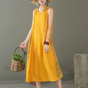 Simple patchwork hooded linen dresses Catwalk yellow Dresses summer