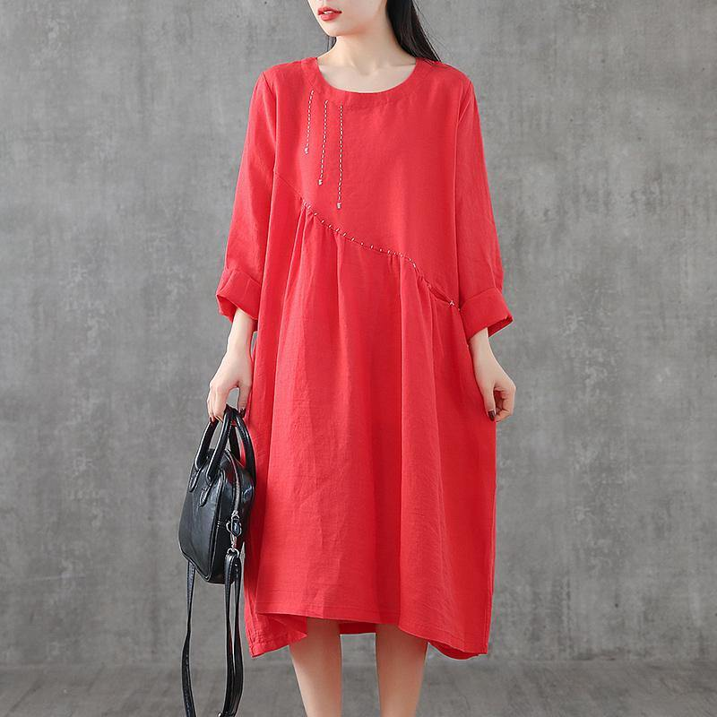 Simple patchwork linen Robes Outfits red embroidery Dress