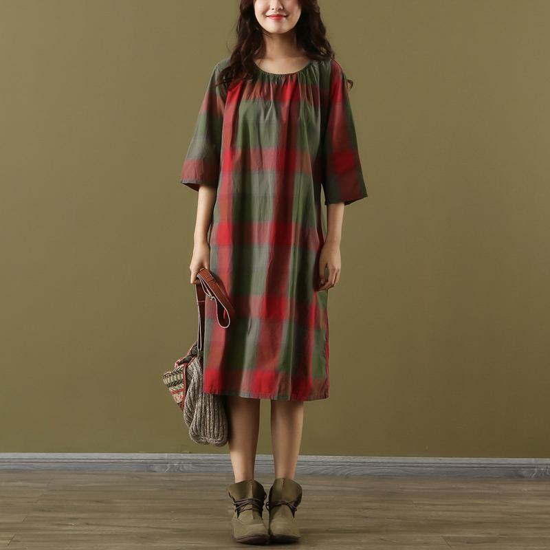 Simple red Plaid Cotton Tunics o neck tie waist Vestidos De Lino summer Dresses