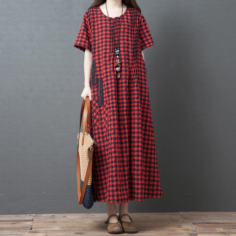 Simple red Plaid cotton clothes For Women o neck patchwork long summer Dress