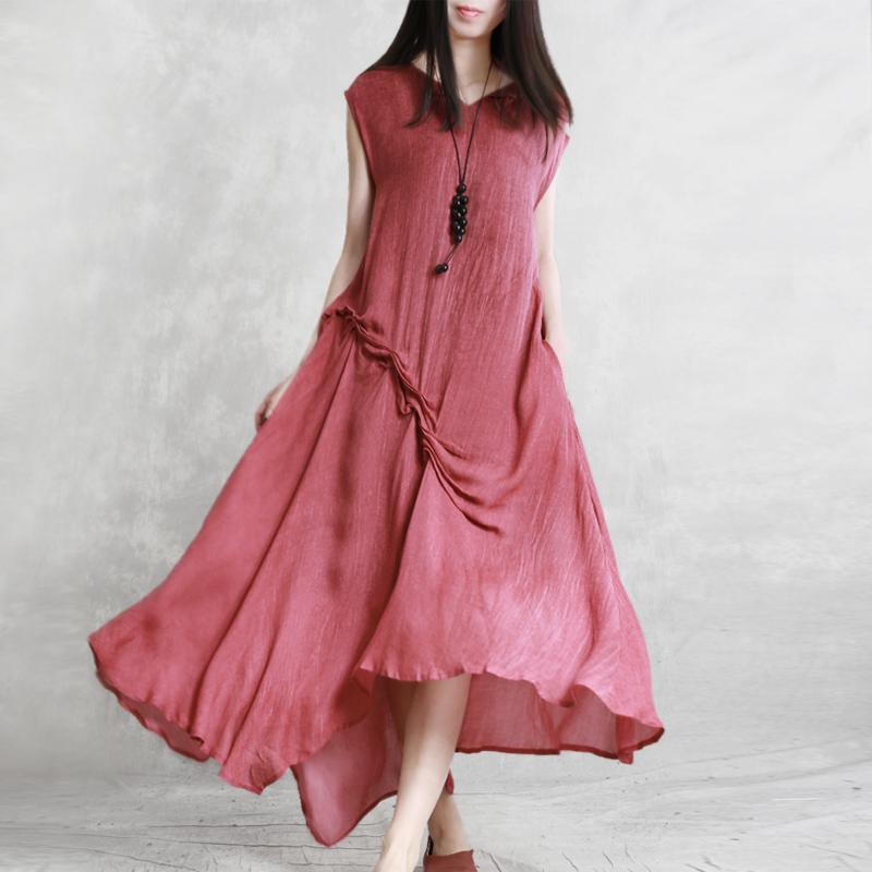 Simple red cotton Robes Indian Shirts v neck sleeveless wrinkled Plus Size Clothing Summer Dresses