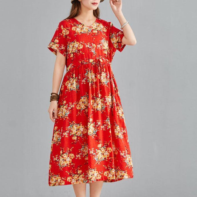 Simple red print linen cotton dresses v neck drawstring summer Dresses