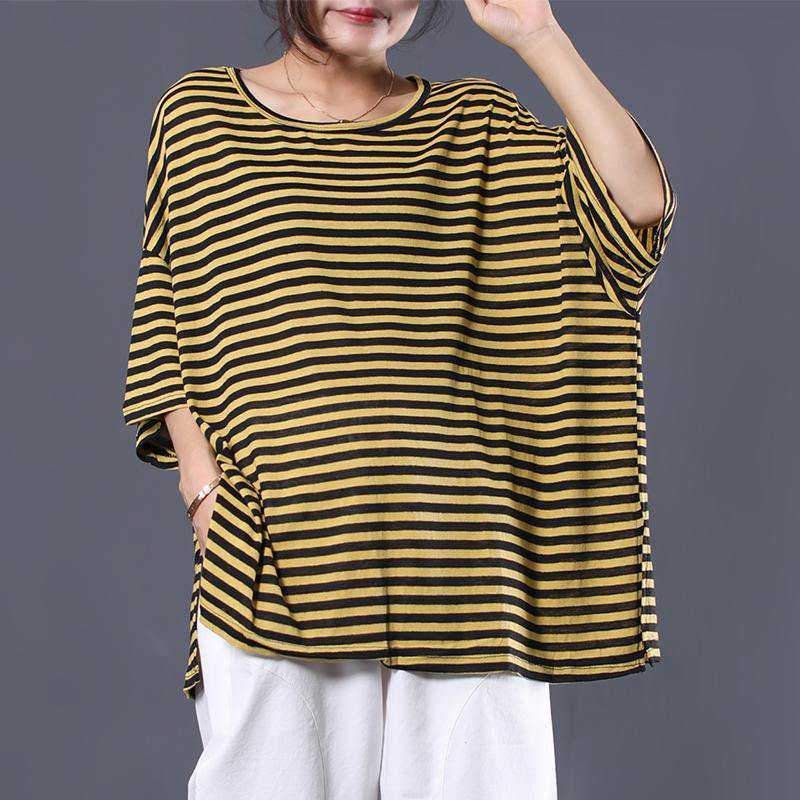 Simple side open cotton Tunic Work Outfits yellow striped shirts summer