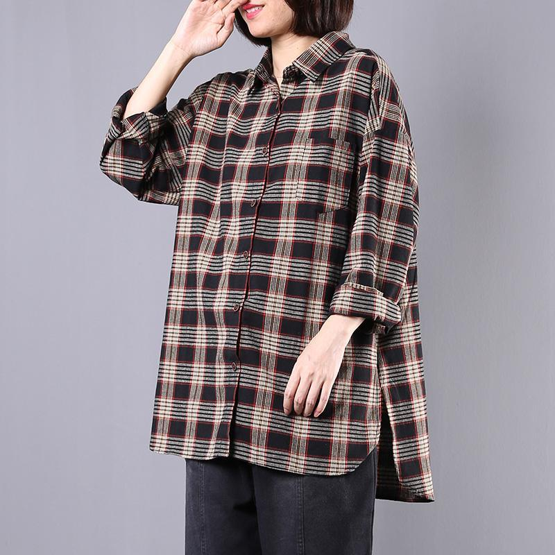 Simple side open cotton blouses for women Shirts navy plaid blouse fall