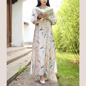 Simple side open linen clothes For Women Wardrobes prints Dresses fall