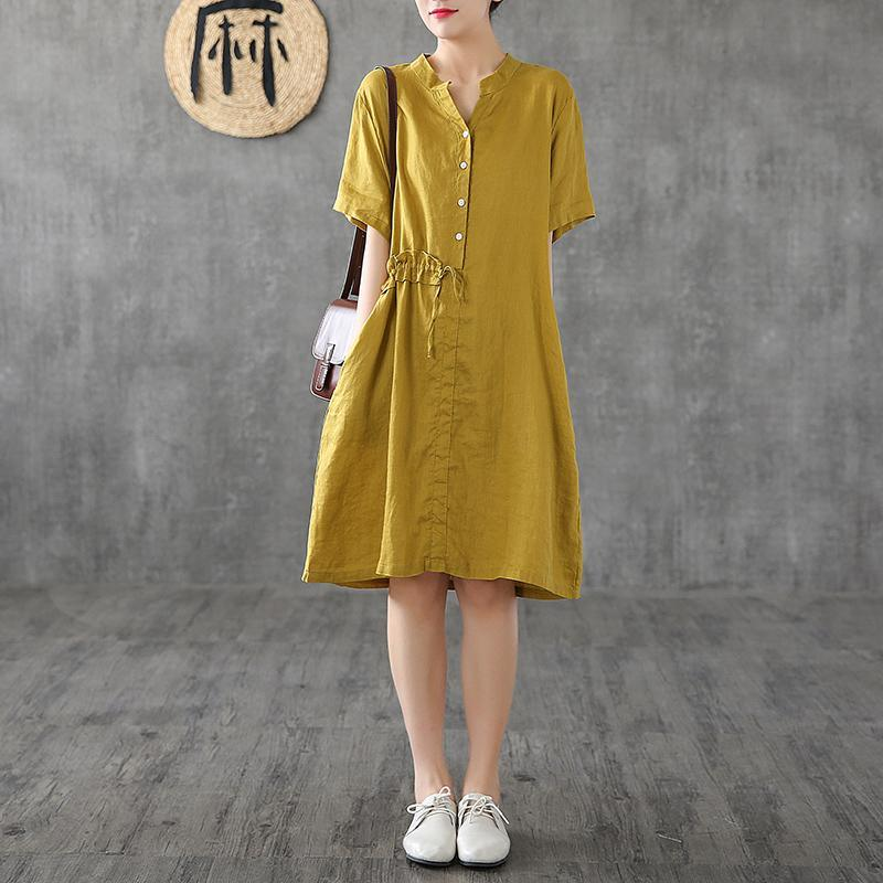 Simple stand collar patchwork linen clothes For Women Shape yellow Dresses