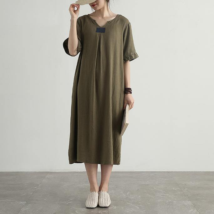 Simple v neck linen cotton tunics for women Photography green Dresses summer