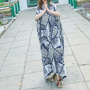 Simple v neck short sleeve cotton dress Outfits blue print Maxi Dress