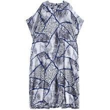 Load image into Gallery viewer, Simple v neck short sleeve cotton dress Outfits blue print Maxi Dress