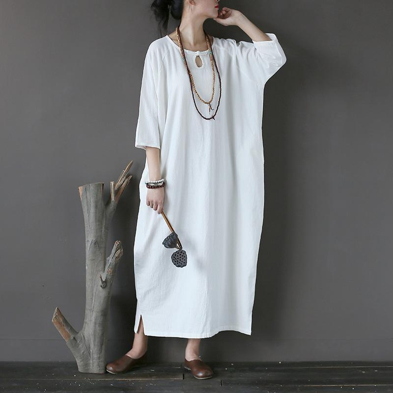 Simple white linen clothes plus size Sleeve Love Batwing Sleeve o neck asymmetric Dresses
