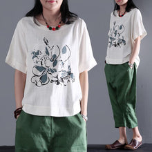 Load image into Gallery viewer, Simple life print linen shirt summer t short women blouse plus size white