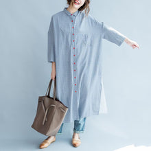 Load image into Gallery viewer, Sky blue plaid patchwork maxi dress oversize long shirts back print linen dresses