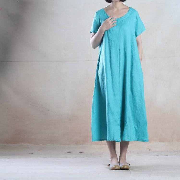 Skye blue linen sundress long summer dress loose fit holiday dress