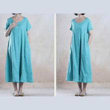 Load image into Gallery viewer, Skye blue linen sundress long summer dress loose fit holiday dress