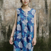 Load image into Gallery viewer, Sleeveless Round Neck Leaves Pattern Navy Blue Dress