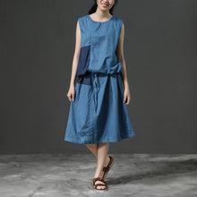 Load image into Gallery viewer, Sleeveless Summer Blue Commuter Cotton Dress