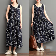 Load image into Gallery viewer, Smiling house black cotton sundresses plus size casual maxi dress sleeveless