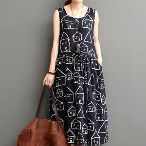 Smiling house black cotton sundresses plus size casual maxi dress sleeveless
