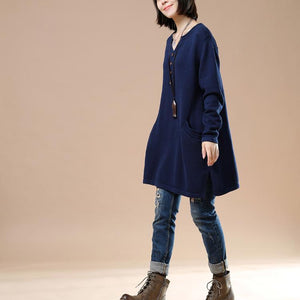 Soft navy pullover knit dresses