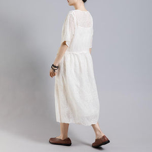 Solid Color Embroidery Casual Dress With Lining