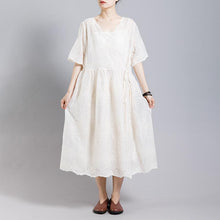 Load image into Gallery viewer, Solid Color Embroidery Casual Dress With Lining