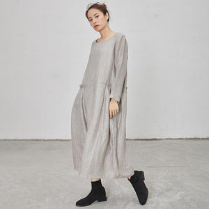 Solid Color Loose Comfortable Long Sleeve Dress
