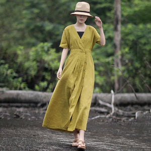 Solid Color Pleated V-Neck Retro Loose Dress