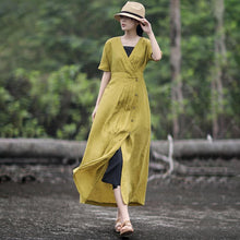 Load image into Gallery viewer, Solid Color Pleated V-Neck Retro Loose Dress