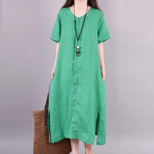 Load image into Gallery viewer, Solid Color Split Hem Casual Midi Dress