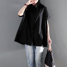 Laden Sie das Bild in den Galerie-Viewer, Solid black plus size women summer shirt short sleeve blouse top
