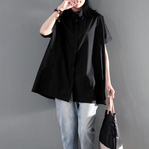 Solid black plus size women summer shirt short sleeve blouse top