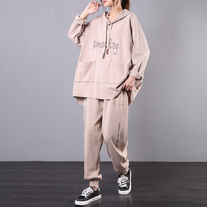 Sports two-piece suit 2020 new khaki loose large size micro fat suit